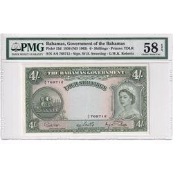 Bahamas: 1936 (ND 1963) 4-Shillings, Pick # 13d. Government of Bahamas, Sweeting-Roberts, PMG Certif