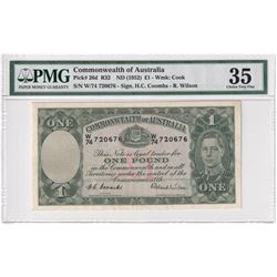 Commonwealth Australia: 1952 1-Pound, Pick #26d, Coombs-Wilson, PMG Certified Choice VF-35. W74 7206