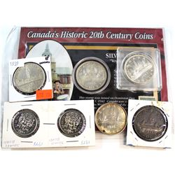 Estate lot of Canada Silver Dollar & 50-cent Pieces - you will receive the 1935, 1936, 1939, 1965 &
