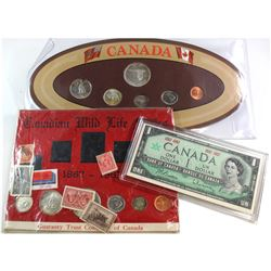 Estate lot of Canada 1867-1967 Year Sets with stamps. Lot contains a 1867-1967 One Dollar Note, 1967