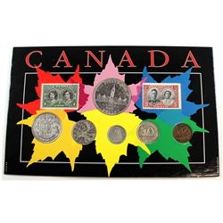 1939 Canada Year Set with Stamps. Coins contain various imperfections.