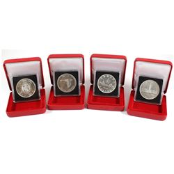 1935, 1939, 1964 & 1967 Canada Silver Dollars encapsulated with Display box. 4pcs