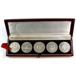 1935, 1939, 1949, 1958 & 1964 Canada Commemorative Silver Dollars in Vintage display box.