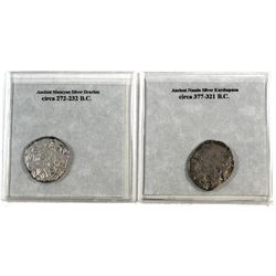 Set of two Ancient Silver Drachm coins Mauryan & Nanda Dynasties 232-377 BC. 2pcs