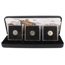 3x Ancient Roman coins Father-Marcus Aurelius, Wife-Fautina Junior & Son Commodus Lucius Aurelius. A