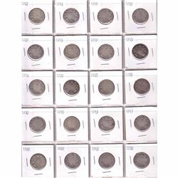 Mixed page of 1902-1936 Canada Silver 25-cent coins. 20pcs