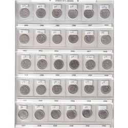 Estate lot of 1894-2007 Canada 10-cent Collection in Brown Uni-Safe folder. You will receive 100 coi