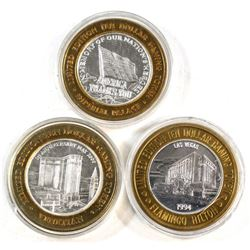 3x Las Vegas $10 .999 Fine Silver Limited edition Casino gaming tokens: Imperial Palace, the Venetia