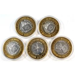 5x Las Vegas $10 McCarran Slots Limited Edition .999 Fine Silver Casino Gaming Tokens (coins are ton