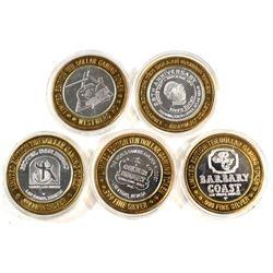 5x Las Vegas $10 Limited edition .999 Fine Silver Casino Gaming Tokens: Westward Ho-Jamboree, Barbar