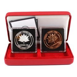 2017 Canada 150 Logo Medal 1oz Silver & Bronze Medallion 2-coin set. Coins come encapsulated with di