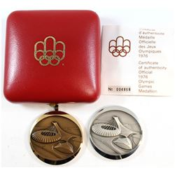 Pair of 1976 Montreal Olympic Sterling Silver & Patinated Bronze Medallions. Bronze coloured Medalli