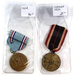 Vintage WWII Honor Fidelity Efficiency Medal Pin & NAZI Germany WW2 Military Medal. 2pcs