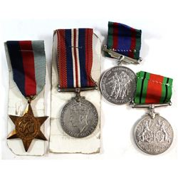4x 1939-1945 War Medals. You will receive 1939-1945 King George VI War Medal, Defence Medal, Militar