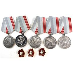 5x Vintage CCCP Russia Soviet 3A Betepah Tpya Medal with 3x Bonus Lenin (pin). 8pcs
