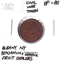 1863 Albany New York, Benjamin + Herrick Fruit Dealer Civil War Token EF-AU