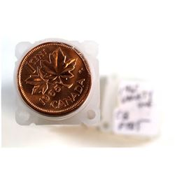 1965 Variety 1 (Small Beads, Pointed 5) Canada 1-cent Roll. Coins appear to be mint state.