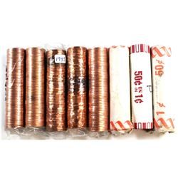 * 1981, 1982, 1993, 1995, 1998, 2002, 2004 & 2012 Canada 1-cent Rolls of 50pcs. 8pcs