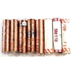 * 1981, 1982, 1993, 1995, 1998, 2002, 2004 & 2012 Canada 1-cent Rolls of 50pcs. 8pcs