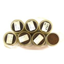 *7x 1939 Canada 1-cent Plastic Tube Roll of 50pcs (7 rolls). Sold as is, No Returns