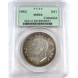 1952 Canada Silver $1 PCGS Certified MS-64.