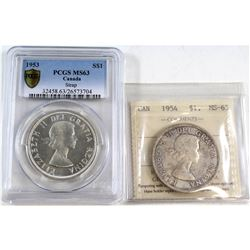 1953 & 1954 Canada Silver Dollar Certified MS-63. You will receive a 1953 Strap PCGS certified MS-63