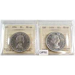 1954 & 1954 Cameo Canada Silver $1 ICCS Certified MS-64. 2pcs.