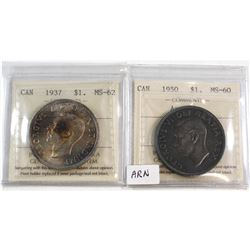 1937 Canada Silver $1 MS-62 & 1950 Canada Arnprior Silver $1 MS-60. Both coins have been certified b