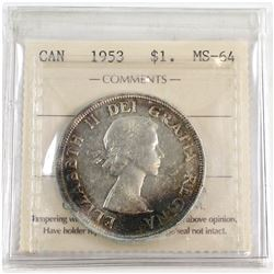 1953 Canada NSF Silver $1 Strap PCGS Certified MS-64.