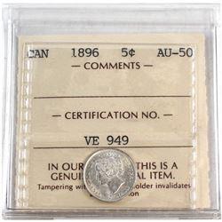 1896 Canada 5-cent ICCS Certified AU-50.