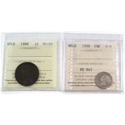 1888 NFLD 10-cent G-6 & 1888 NFLD 1-cent VG-10. Both coins have been certified by ICCS. 2pcs.