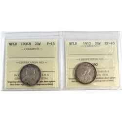 1904H NFLD 20-cent F-15 & 1912 NFLD 20-cent EF-40. Both coins have been ICCS Certified. 2pcs.