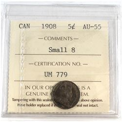1908 Canada Small 8 5-cent ICCS Certified AU-55.