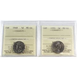 1948 Canada 5-cent MS-64 & 1995 Canada 5-cent MS-65. Both coins have been certified by ICCS. 2pcs.
