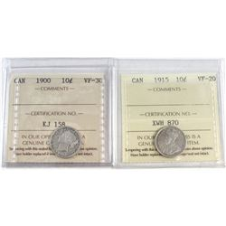 1900 Canada 10-cent VF-30 & 1915 Canada 10-cent VF-20. Both coins have been certified by ICCS. 2pcs.