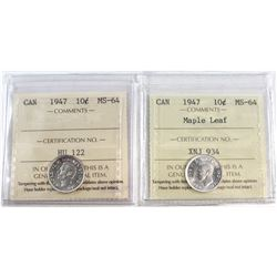 1947 & 1947 Maple Leaf Canada 10-cent ICCS Certified MS-64. 2pcs.
