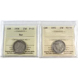 1892 Canada 25-cent VG-10 & 1936 Canada Bar 10-cent F-15. Both coins have been certified by ICCS. 2p