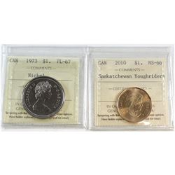 2010 Canada Saskatchewan Roughriders $1 MS-66 & 1973 Canada Nickel $1 PL-67. Both coins have been ce