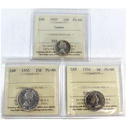 1955 Canada 10-cent Cameo, 1955 Canada 25-cent, 1956 Canada 5-cent ICCS Certified PL-66. 3pcs.