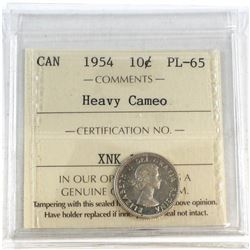 1954 Canada 10-cent ICCS Certified PL-65 Heavy Cameo.