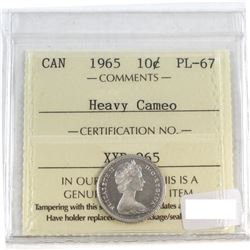 1965 Canada 10-cent ICCS Certified PL-67 Heavy Cameo.
