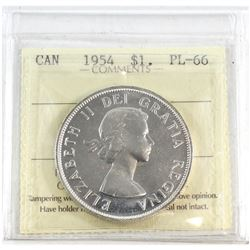 1954 Canada Silver $1 ICCS Certified PL-66.