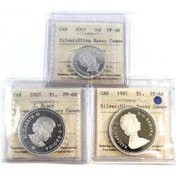 1981 Canada Silver $1, 2007 Canada Silver 50-cent, 2007 Canada J. Brant Silver $1 ICCS Certified PF-