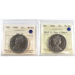 1968 Canada DHL #1 $1 MS-65 & 1968 Canada DHL #2 $1 PL-66 Heavy Cameo. Both coins have been certifie