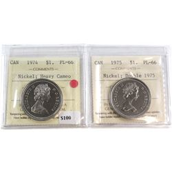 1974 Canada Nickel $1 PL-66 Heavy Cameo & 1975 Canada Double 1975 Nickel $1 PL-66. Both coins have b