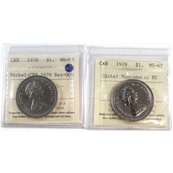 1978 Canada Rev-004 Nickel $1 MS-65 & 1978 Nickel $1 MS-67 NBU. Both coins have been certified by IC