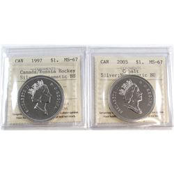 1997 Canada/Russia Hockey Silver $1 & 2003 Canada Cobalt Silver $1 ICCS Certified MS-67 NBU. 2pcs.