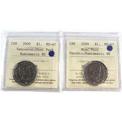 2009 Canada Mini Puck $1 Toronto & Vancouver ICCS Certified MS-67 NBU. 2pcs.
