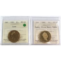 1991 Canada Loon $1 MS-65 & 1991 Canada Loon $1 PF-67 Ultra Heavy Cameo. Both coins have been certif