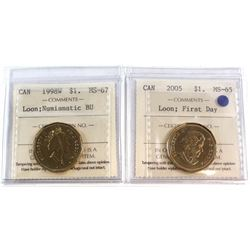 1998W Loon $1 MS-67 NBU & 2005 Canada First Day Loon $1 MS-65. Both coins have been certified by ICC